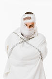 Mentally insane man. In straitjacket and chains Royalty Free Stock Images