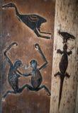 Mentawai部落图画的片段在一个传统房子里 免版税图库摄影