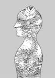 Mente bonita do poder do reiki do chakra da arte abstrato, mundo, universo dentro de sua mente, mão do vetor tirada Imagens de Stock Royalty Free