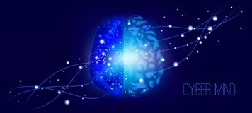 Mente cibernética, diseño de la inteligencia artificial ilustración del vector