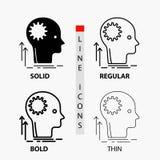 Mente, creativo, pensare, idea, confrontare le idee icona nella linea e nello stile sottili, regolari, audaci di glifo Illustrazi illustrazione di stock
