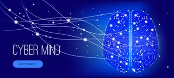 Mente do Cyber, projeto da inteligência artificial ilustração royalty free