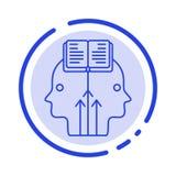 Mente, leitura, programando, linha pontilhada azul linha ícone do homem ilustração stock