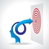 Mente y meta del negocio con la flecha Fotografía de archivo