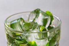 Menthe de vert de brindilles dans le mojito avec des tranches chaux, glaçons, paille, macro, texture Photo stock