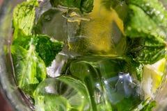 Menthe de vert de brindilles dans le mojito avec des tranches chaux, glaçons, paille, macro, texture Images stock