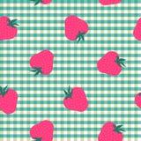 Menthe sans couture et blanc avec le modèle de fraises Image libre de droits
