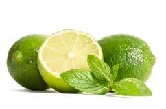 Menthe verte, deux chaux avec la moitié d'une chaux juteuse Photos stock