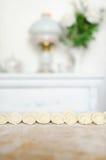 Mentira cocinada de las bolas de masa hervida en la tabla de cocina Primer Foto de archivo libre de regalías