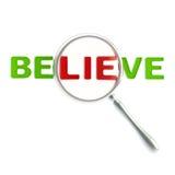 A mentira como uma parte da palavra acredita Imagens de Stock