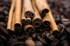Mentira das varas de canela em feijões de café Fotos de Stock