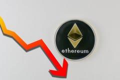 Mentira de Ethereum aislada en blanco con el gráfico rojo que cae Fotografía de archivo libre de regalías