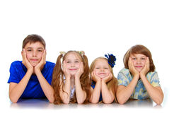 Mentira de los niños en el piso Fotos de archivo libres de regalías