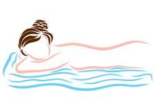 Mentira de reclinación de la mujer en la cama stock de ilustración