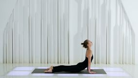 Mentira de respaldo de las curvas de la muchacha de la yoga metrajes