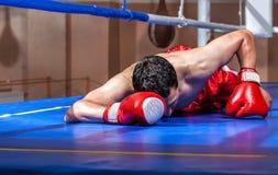 Mentira del boxeador eliminada en un anillo de boxeo imagen de archivo