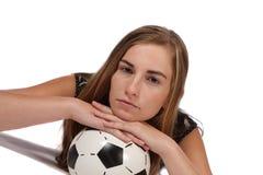 Mentira en soccerball Imágenes de archivo libres de regalías