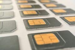Mentira en tres tarjetas de las filas SIM para los teléfonos celulares Imagen de archivo