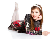 Mentira joven de la muchacha del adolescente en un suelo Imágenes de archivo libres de regalías