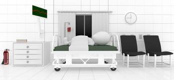 mentira paciente 3d en cama dentro de un cuarto Imagenes de archivo