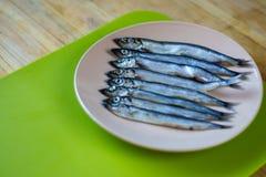 Mentira pequena dos peixes de prata em uma placa bege imagem de stock