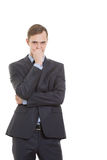 Mentiras da desconfiança dos gestos Linguagem corporal homem dentro Imagem de Stock
