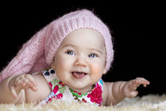 Mentiras felizes bonitos do bebê Imagem de Stock