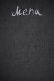 Menütitel geschrieben mit Kreide auf schwarzes Brett Stockfotos