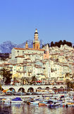Menton. View of church, old town and yachting port of Menton, Cote d'Azur, france Stock Images