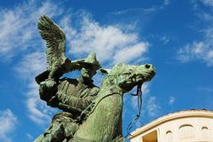 Menton #16. Statues of the falconers in the public square at menton Royalty Free Stock Photography