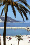 Menton beach. Under palm trees, view of a beach of Menton, french riviera Stock Photography