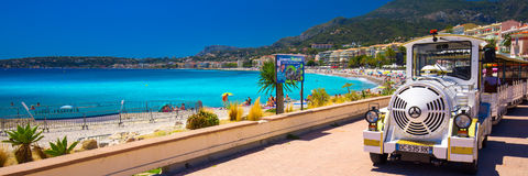 Menton city with coastline promenade, Mediterranean Coast, French riviera Royalty Free Stock Photos
