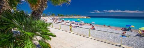 Menton city with coastline promenade, Mediterranean Coast, French riviera Royalty Free Stock Photography