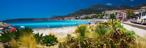 Menton city with coastline promenade, Mediterranean Coast, French riviera Royalty Free Stock Image