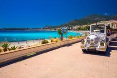 Menton city with coastline promenade, Mediterranean Coast, French riviera Stock Image