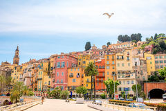 Menton city in France. Menton, France - June 13, 2016: Menton cityscape view on the french riviera in France Royalty Free Stock Photography