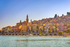 Menton France. Menton beach and city skyline, Menton, France Riviera Stock Photo