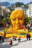 MENTON, FRANCE - FEBRUARY 20: Art made of lemons and oranges in the famous Lemon Festival (Fete du Citron). Royalty Free Stock Photo