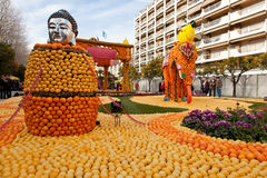 MENTON, FRANCE - FEBRUARY 27: Lemon Festival (Fete du Citron Royalty Free Stock Photos