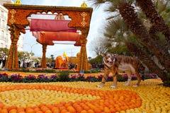 MENTON, FRANCE - FEBRUARY 27: Lemon Festival (Fete du Citron) on the French Riviera. Stock Photography