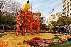 MENTON, FRANCE - FEBRUARY 27: Lemon Festival (Fete du Citron) on the French Riviera. Royalty Free Stock Image