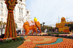 MENTON, FRANCE - FEBRUARY 27: Lemon Festival (Fete du Citron) on the French Riviera Stock Images