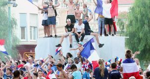 France Supporters Celebrate After Winning The World Cup in Russia. Menton, France - July 15, 2018: 2018 FIFA World Cup Russia : France Supporters Celebrate In stock video