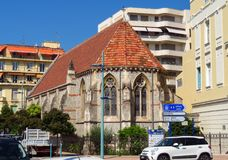 Menton - English Church. Menton, France - June 30, 2018: St. John's English Church for an English speaking service stock photos