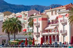 Colorful buildings on promenade of Menton, France. Royalty Free Stock Photo