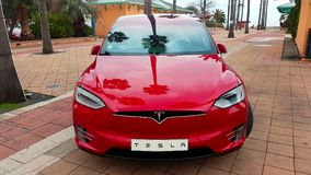 Red Tesla Model X Electric SUV Front View