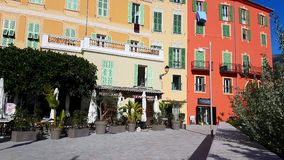 Colorful Houses Facades In Menton Old Town stock video footage