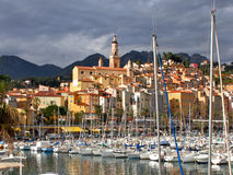 Menton, France, old city and marina Royalty Free Stock Photography