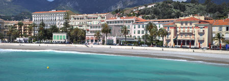 Menton,France.Panoramic view of promenade and old medieval town with multicolored villas Stock Image