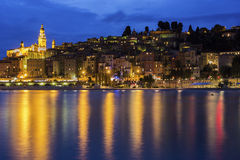 Menton in France. View on Menton in France during a cloudy evening Royalty Free Stock Photo